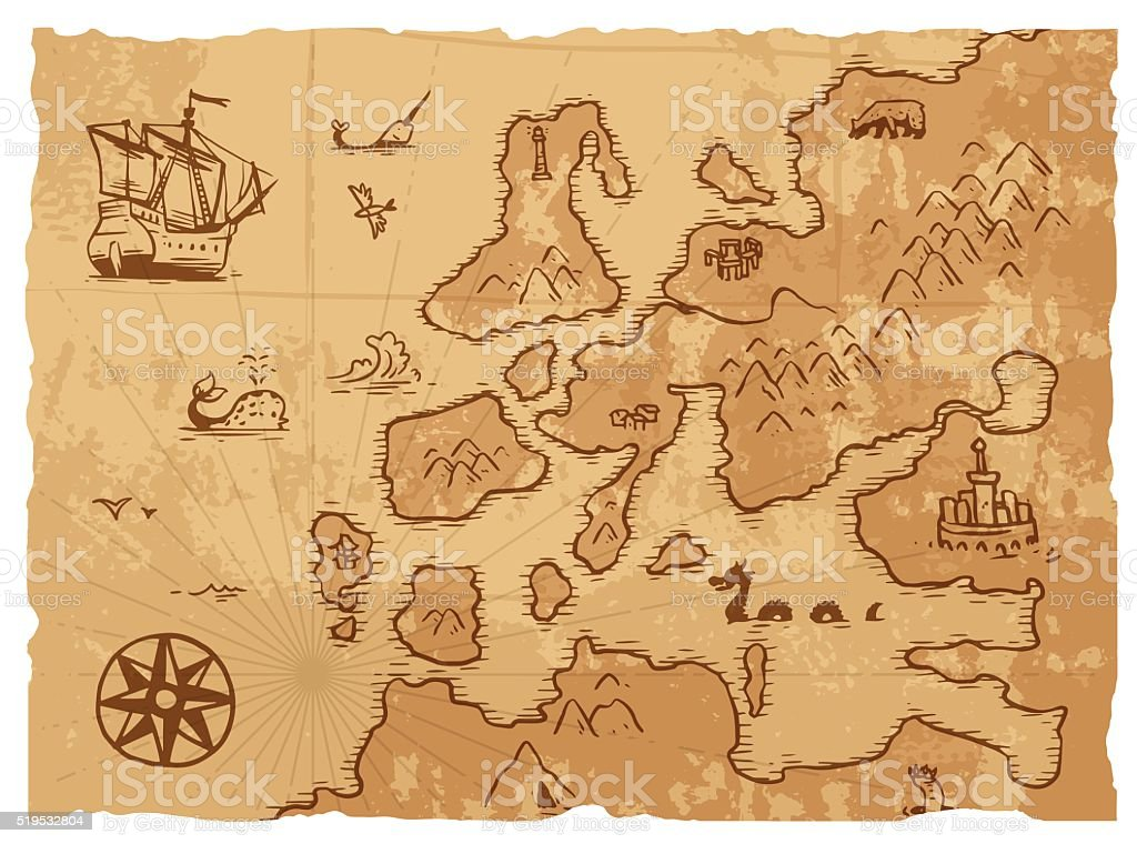 Vecchio Stile Retrò Vintage Antica Mappa Antica Geografia Sfondo  Illustrazione Vettoriale Vecchio Stile Retrò Vintage Antica