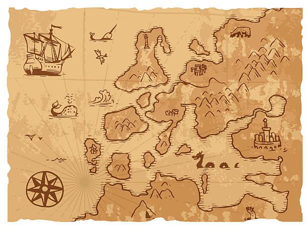 ilustrações, clipart, desenhos animados e ícones de mapa antigo velho vintage retrô com antigo fundo de ilustração vetorial geografia - mapas de tesouro