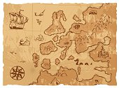 Old vintage retro ancient map antique geography background vector illustration