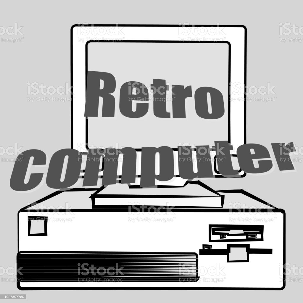 Old vintage retro hipster antique gaming desktop computer and a retro...