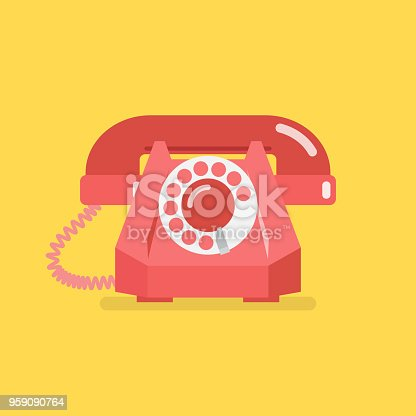 Old vintage retro telephone. Vector illustration