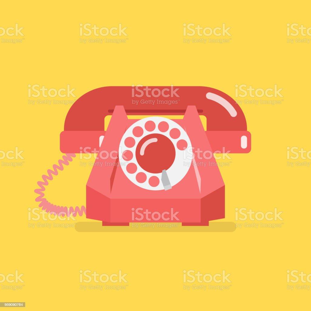 Old vintage retro telephone vector art illustration