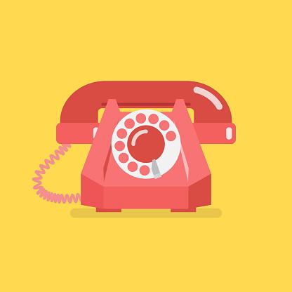 Ilustración de Teléfono Retro Vintage Antiguo y más Vectores Libres de Derechos de 1960-1969