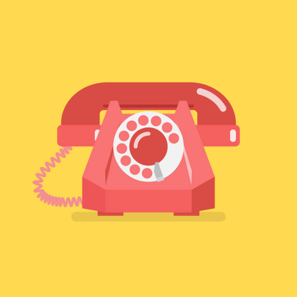 Old vintage retro telephone vector art illustration