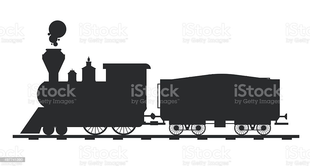 Old Vintage Retro Transportation Train Vector Black And