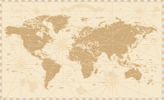 Old World Map - Vector Illustration   Source map references:  hhttp://www.lib.utexas.edu/maps/world_maps/time_zones_ref_2011.pdf http://www.lib.utexas.edu/maps/world_maps/txu-oclc-264266980-world_pol_2008-2.jpg (some cities)  Creation date: March 10, 2016  Software: Adobe Illustrator CS5  Used layers: 1 (detailed outline of the map)