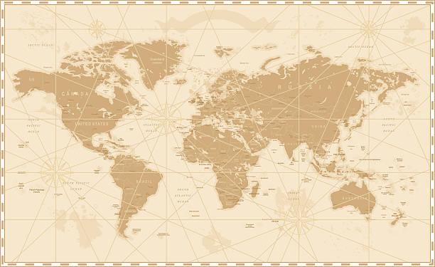 古いビンテージレトロな世界地図 - ビンテージの地図点のイラスト素材/クリップアート素材/マンガ素材/アイコン素材