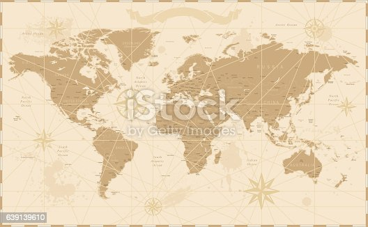 Old Vintage Retro World Map - Vector illustration