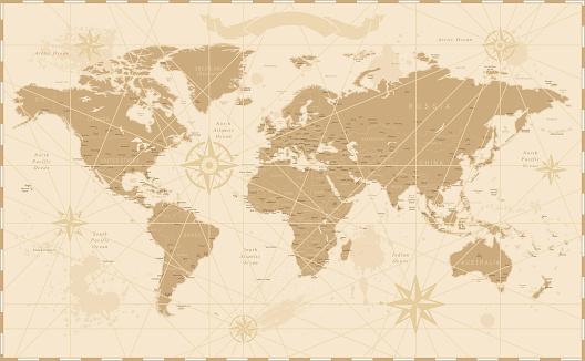 Old Vintage Retro World Map - Vector illustration