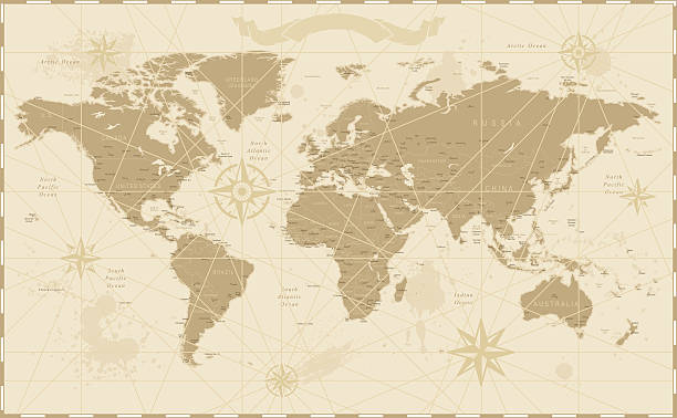 old vintage retro world map - eski stock illustrations