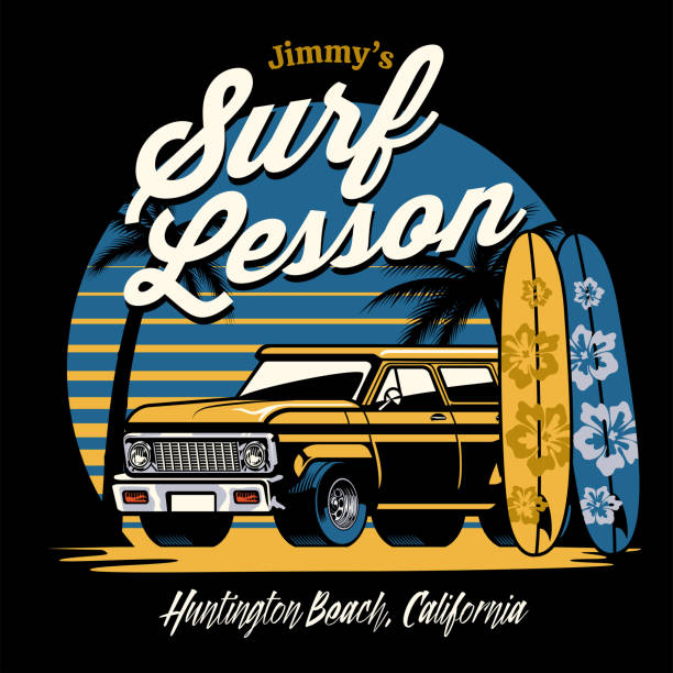 bildbanksillustrationer, clip art samt tecknat material och ikoner med gammal vintage suv bil på surfstranden - surf garage