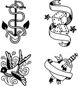 Old vintage tattoo vector illustration