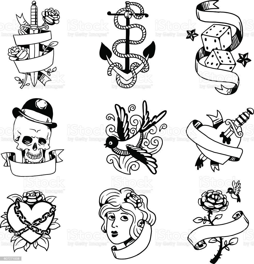 Old vintage tattoo vector illustration - ilustração de arte em vetor