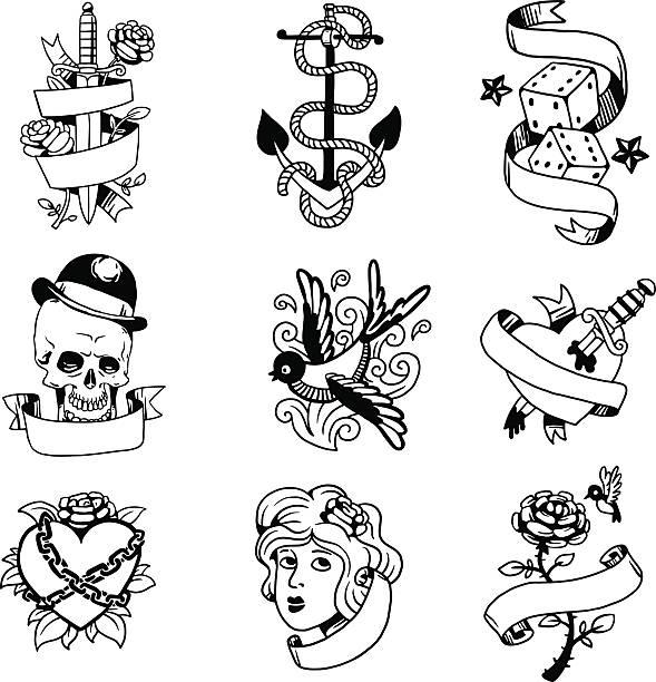 ilustraciones, imágenes clip art, dibujos animados e iconos de stock de old vintage tattoo vector illustration - tatuajes de alas