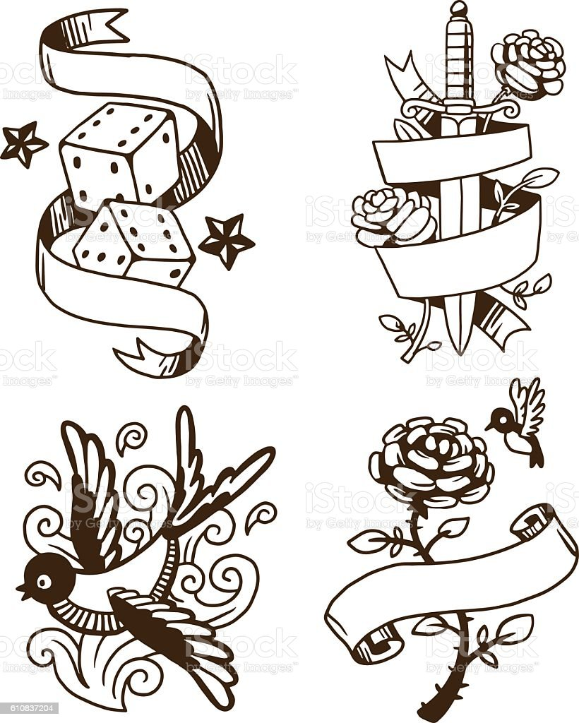Old vintage tattoo vector illustration vector art illustration