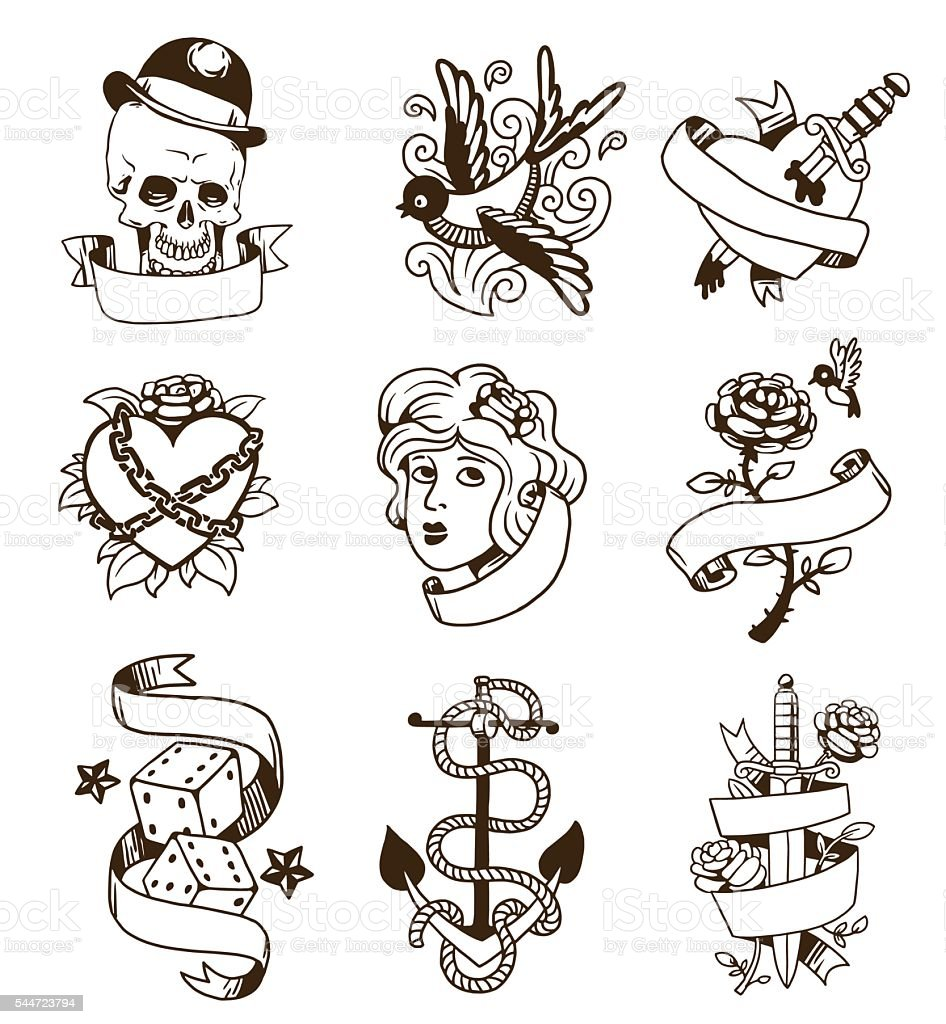 Old vintage tattoo vector set. vector art illustration