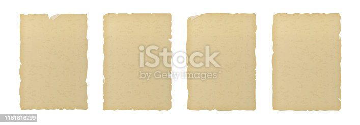 Old vintage textured ripped paper isolated on white background