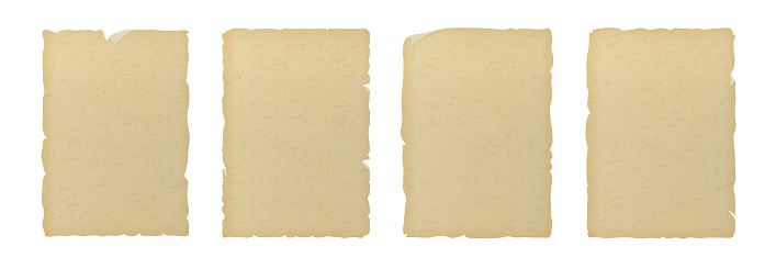 흰색 배경에 고립 된 오래된 빈티지 질감의 찢어진 종이 0명에 대한 스톡 벡터 아트 및 기타 이미지