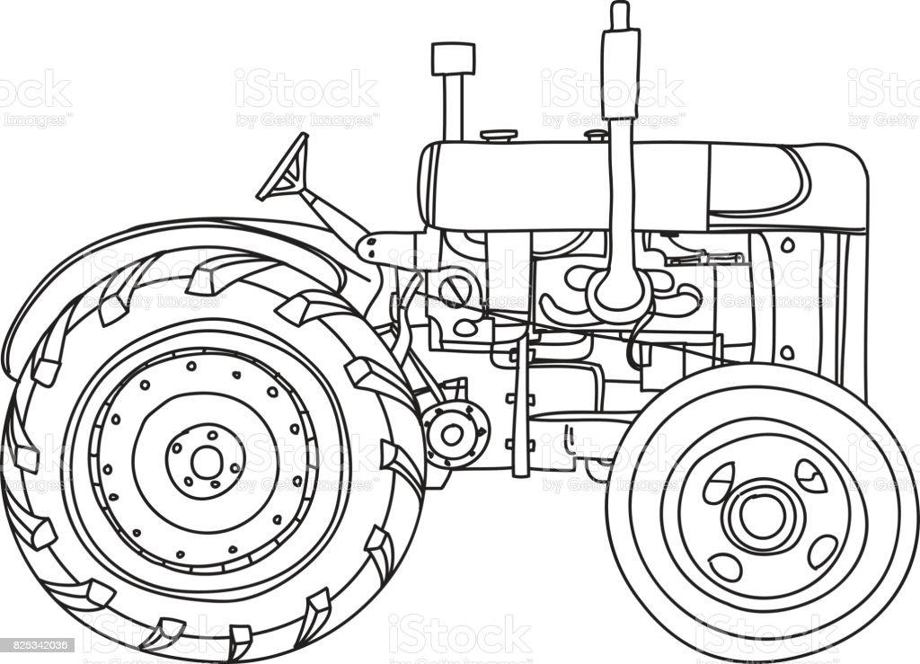 Line Drawing Tractor : Sevimli vektör hat sanat çizim eski vintage traktör