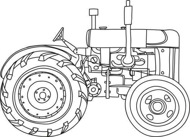 Line Drawing Tractor : Royalty free agricultural machinery vector red harvester