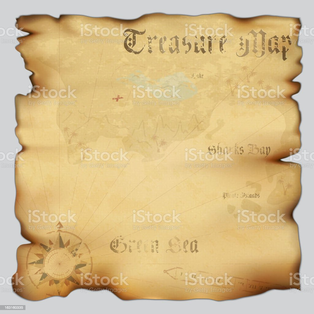 Old vintage treasure map on white vector art illustration