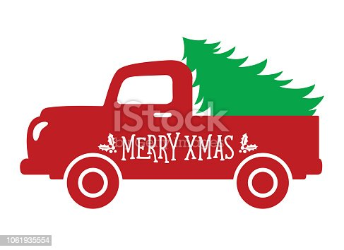 Vector illustration of an old vintage truck with a Christmas tree.