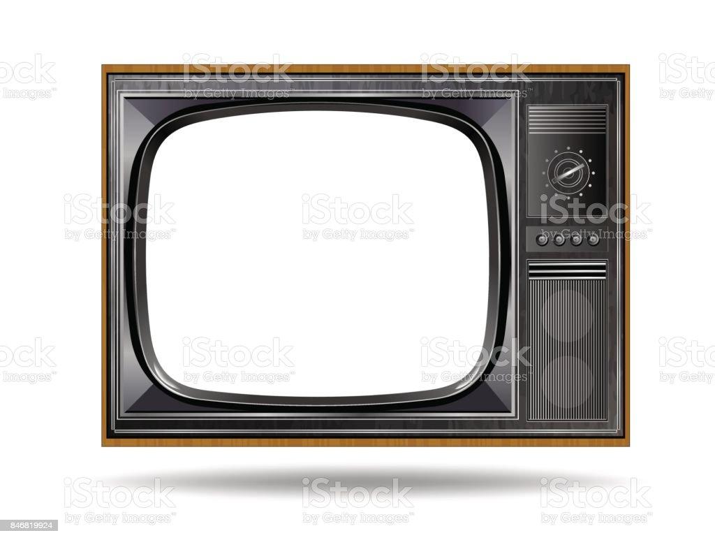 Velho vindima TV isolado no fundo branco - ilustração de arte em vetor