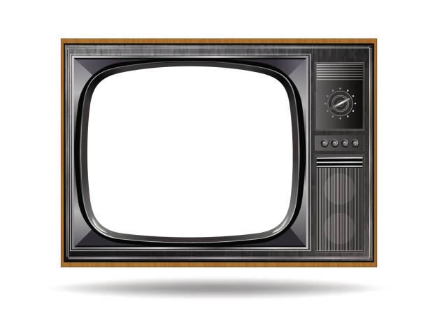 old vintage tv isolated on white background - телевизионная индустрия stock illustrations