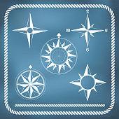 Old vintage windrose compass set