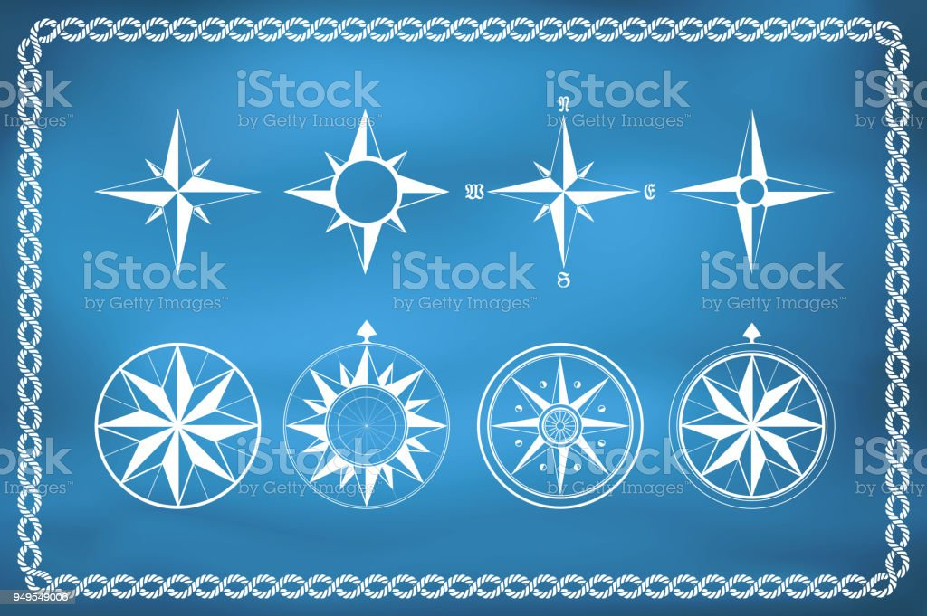 Old vintage windrose compasses vector art illustration