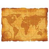 Old vintage world map. Ancient manuscript. Grunge paper texture.