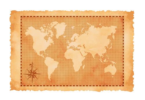 Old vintage world map vector illustration