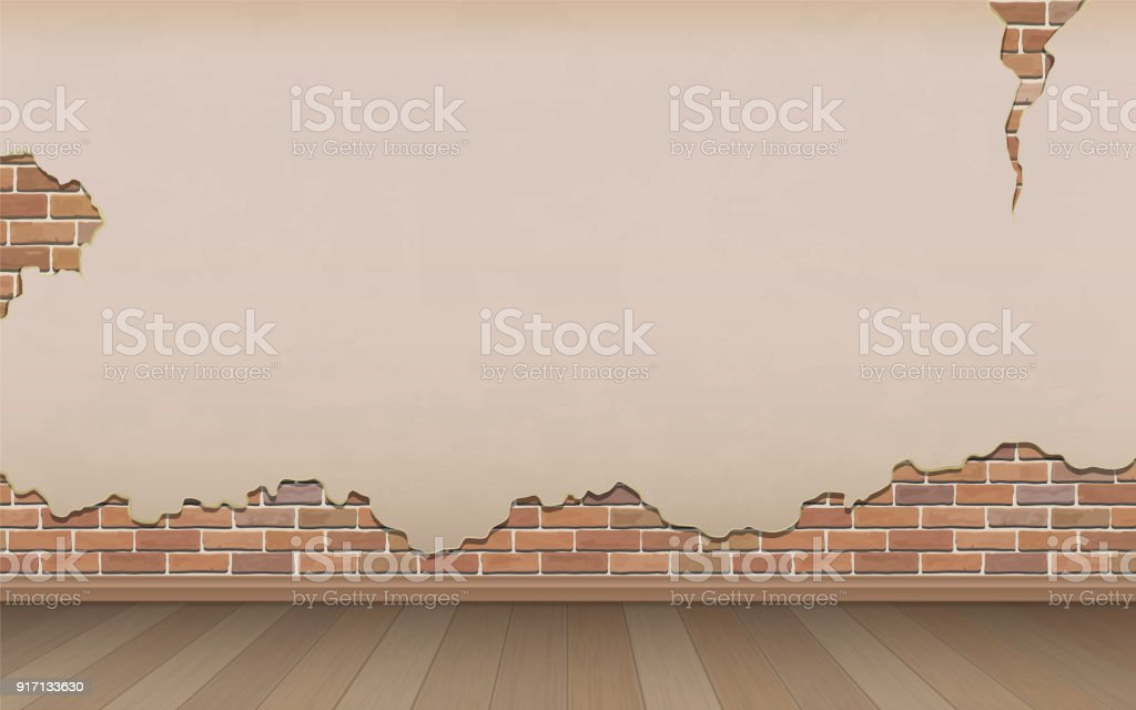old wall and parquet floor vector art illustration