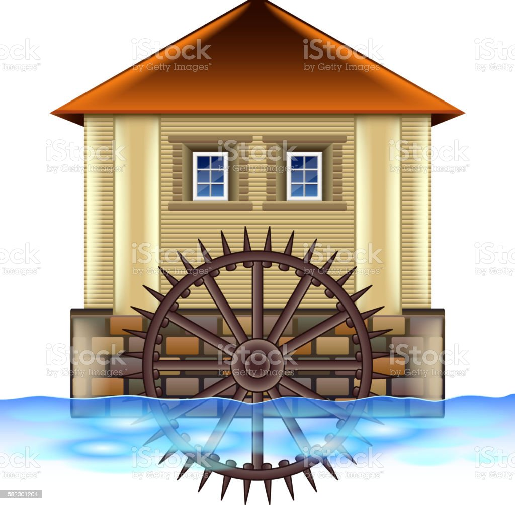 Old water mill isolated on white vector vector art illustration