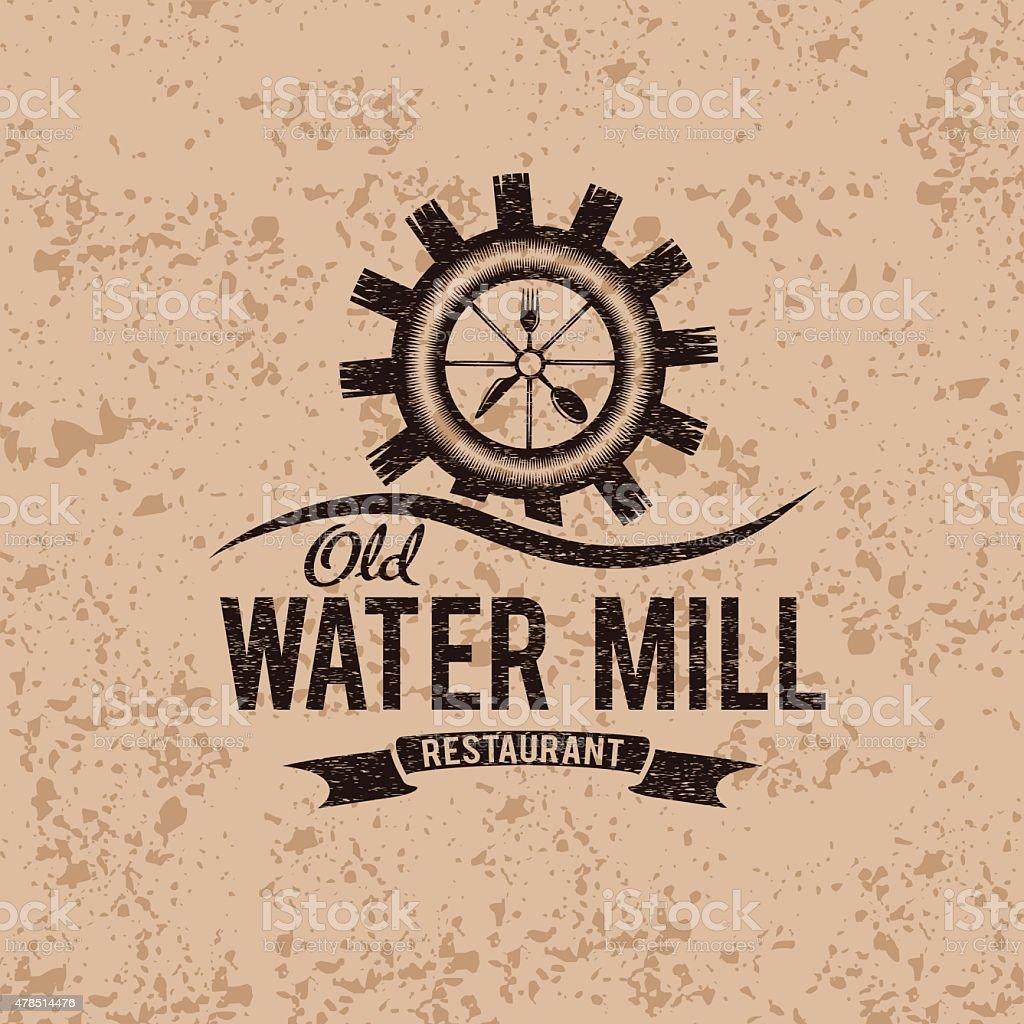 old water mill restaurant concept vector design template vector art illustration