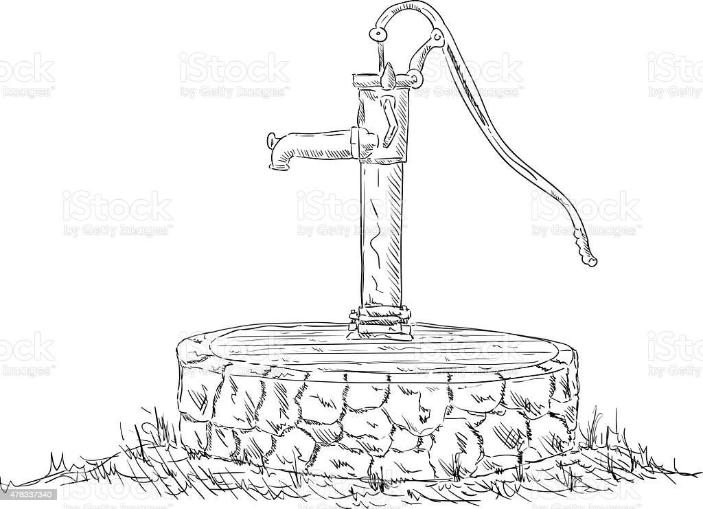 royalty free water well pump clip art  vector images