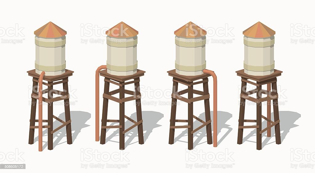 Old water tower vector art illustration