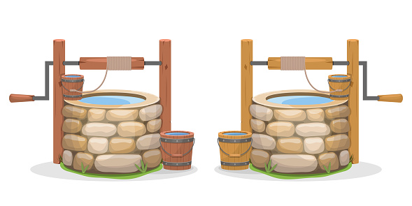 Old water well vector design illustration isolated on white background