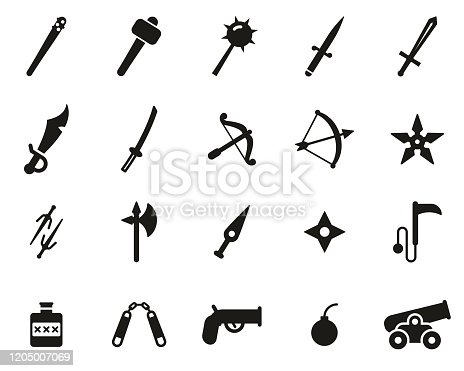 istock Old Weapons Or Ancient Weapons Icons Black & White Set Big 1205007069