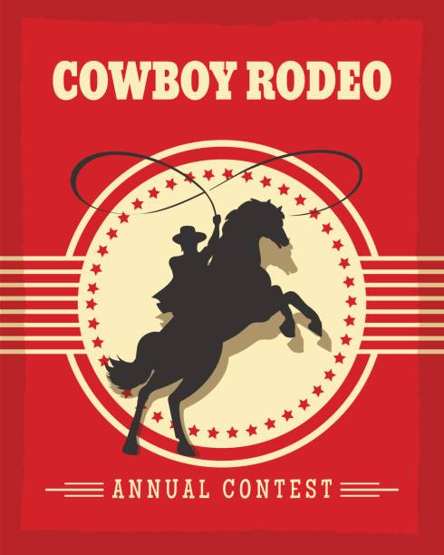 old west cowboys rodeo retro poster - rodeo stock illustrations, clip art, cartoons, & icons