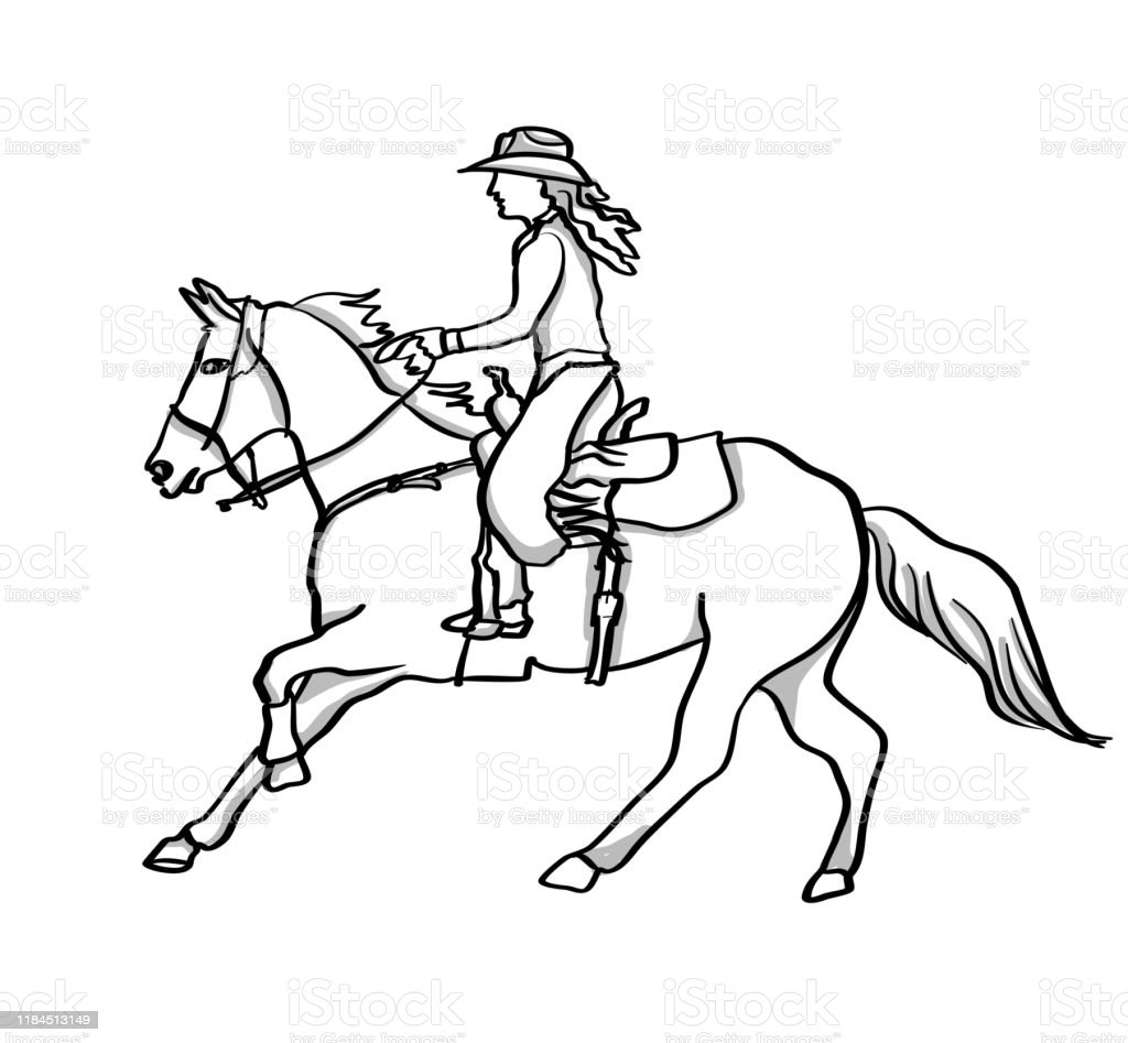 Old West Cowgirl Stock Illustration Download Image Now Istock