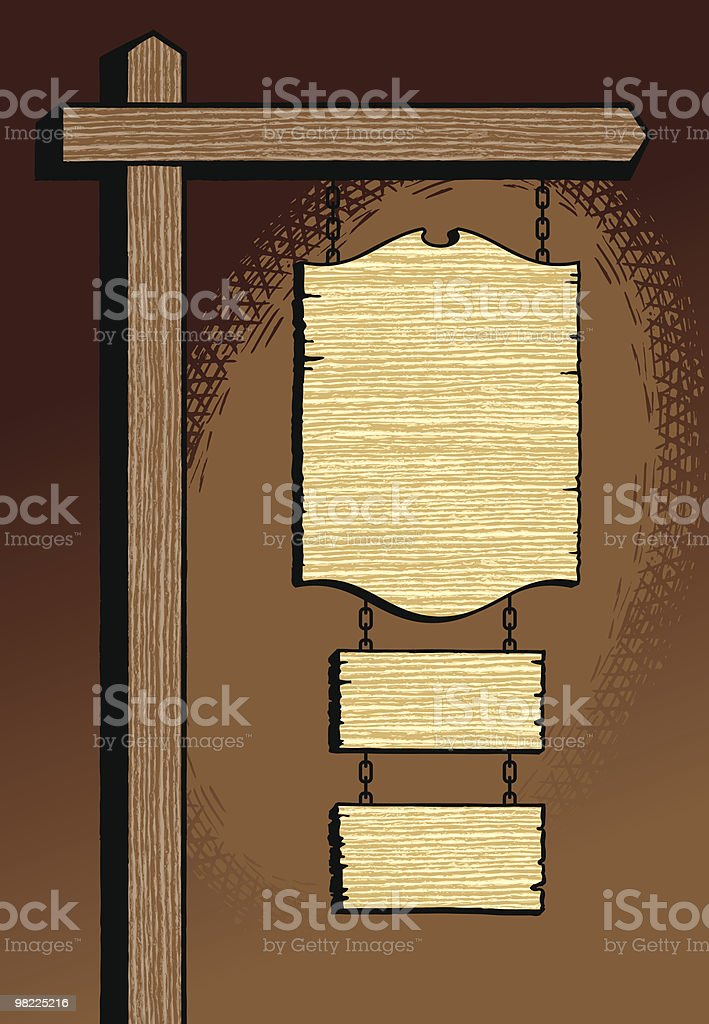 Old West Sign Post royalty-free old west sign post stock vector art & more images of brown