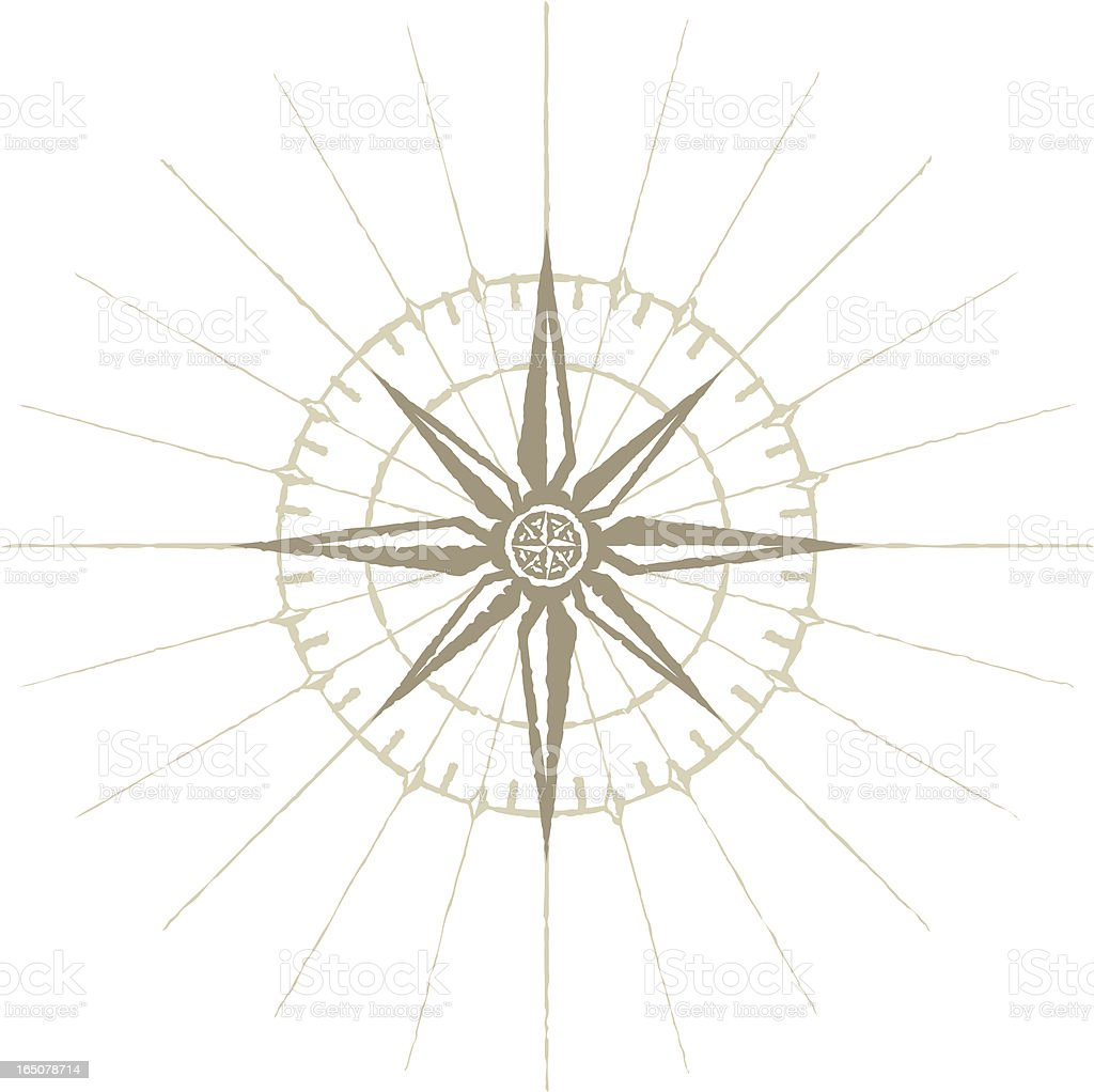 Old wind rose compass vector art illustration