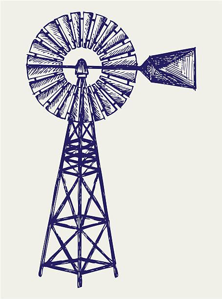 old windmill - rüzgar değirmeni stock illustrations