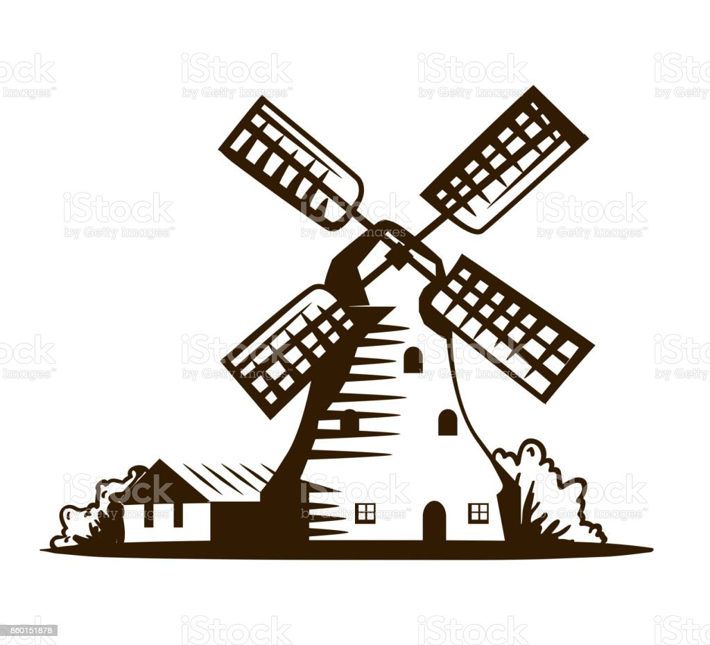 old windmill vector illustration on white stock vector art more rh istockphoto com windmill vector illustration windmill vector drawing