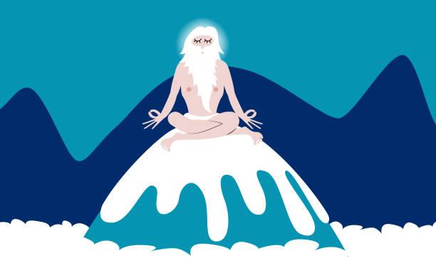 bildbanksillustrationer, clip art samt tecknat material och ikoner med gammal klok man gör yoga på en bergs topp - aktiva pensionärer utflykt