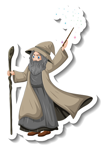 Old wizard holding staff and wand cartoon character sticker
