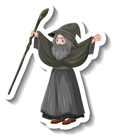 Old wizard holding staff cartoon character sticker