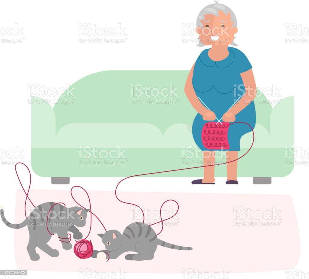 Old woman and cute gray kittens vector art illustration