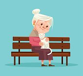 Old woman character hold cat character sitting on bench